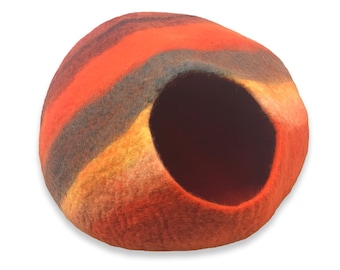 Cat Cave - Extra LARGE - Western Sunset - ships now from usa / Cat Bed / Pet Bed / Hand Felted Wool