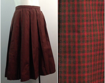 Vintage NOS 1950s 1960s Red Green Plaid Checked Pleated Pencil Skirt / Women's XS / 50s 60s A Line Cotton Skirt Rockabilly Unworn