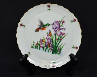 Hummingbird and Iris Decorative Plate