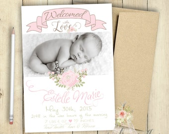 Shabby Chic Roses Baby Girl Birth Announcement PRINTABLE