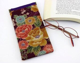 Cute Glasses Case, Kimono Glasses Case, Reading Glasses Case, Case For Glasses, Peony Purple