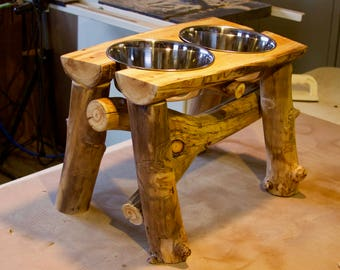 Log dog diner - elevated pet feeder - rustic pet feeder - log decor - rustic decor - feeding stand
