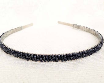 Metallic Gunmetal Gray Beaded Headband Tiara - Alice Hair Band (Limited Edition Color)