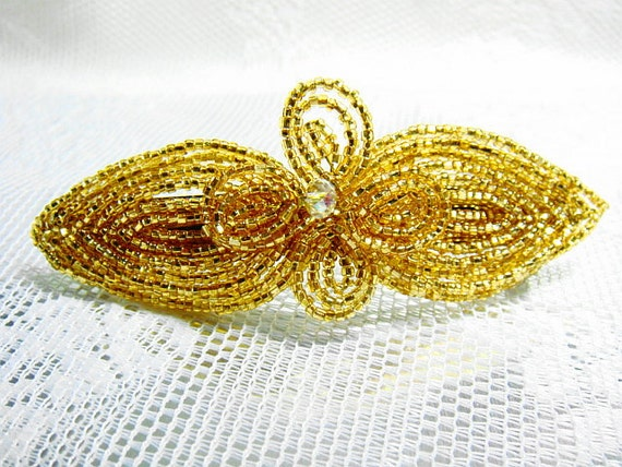 Gold CL Crystal Fascinator French Beaded Barrette - Sparkle Collection