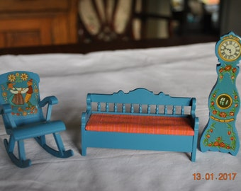 Wooden Doll House Furniture in Blue Pennsylvania Dutch Design with a Clock, Bench and Rocking Chair
