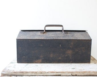 Industrial Metal Toolbox - Black Tool Box Case Tackle Box Steel Rusted Patina Ratrod Storage Container