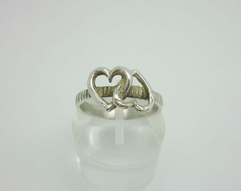 Vintage Sterling Silver Double Hearts Ring