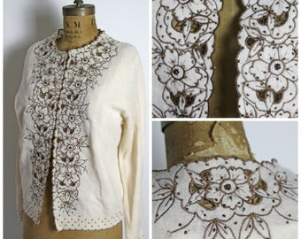 1950s Beaded Floral Sweater
