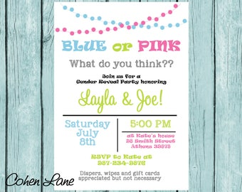 Gender Reveal Invitations, Blue Or Pink Gender Reveal Invite, Gender Reveal Invite, Baby Shower Invitation, Gender Reveal Party, Digital