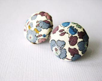Floral fabric covered button earrings in beige, purple, blue and brown