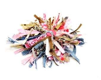 Boho Fabric Flower Brooch, Shabby Tattered Pin, Original Handmade Western Cowgirl Pink Blue Brown Textile Fiber Jewelry itsyourcountry