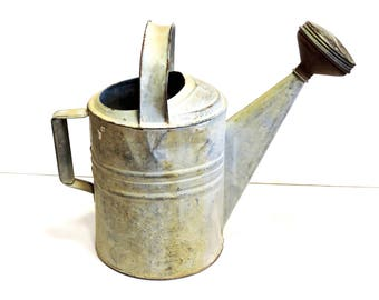 Galvanized Watering Can 8, Vintage Metal Gardening Leaky Portable Water Container, Stationery Handle, Garden Tool Yard Art itsyourcountry