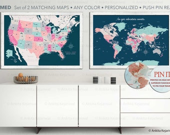 Set of 2 FRAMED maps, Push Pin, Home Decor, Home Office Wall art, Gift for retirement, Boss gift, New Home Gift