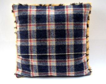 Wool Plaid and Polyester Animal Print Fur Fabric Cushion Cover - Home Decor, 40cm x 40cm Cushion Cover