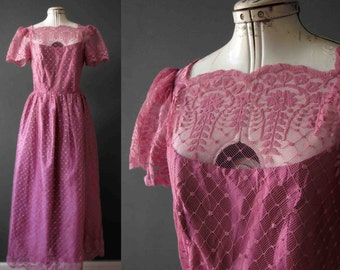 70s 80s Flamingo Musk Pink Lace Dress Medium JC Penny