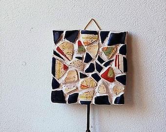 Southwest Mosaic Wall Hook Cobalt Blue Red Yellow
