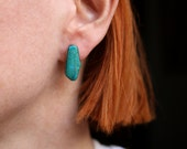 Turquoise Slab EARRINGS / Simple Southwest Jewelry / Vintage Sterling Silver Turquoise Post Earrings