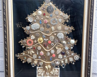 Lighted Jeweled Christmas Tree Framed Beaded Garland Rhinestones Jewelry Hand Crafted