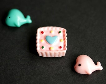 Kawaii Refrigerator Magnets. Set of Three. Pink and Turquoise Blue Fridge Magnet Set. Cute Magnets. Handmade Home Decor.