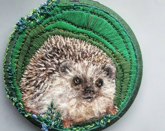 Hedgehog art, pet wool painting, needle felted, fiber arts, cute baby hedgie, woodland animals nursery, original wall art, hand embroidery,
