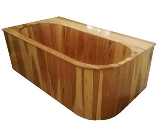 Hickory Drop-In Wooden Ofuro Bathtub - solid wood