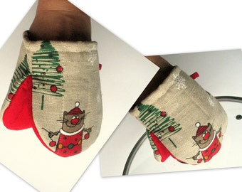 Oven Mit Christmas Oven Mitt set Quilted Oven Glove Kitchen Decor Insulated Pot Holder Housewarming Gift Rudolph Reindeer Holiday