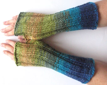 Fingerless Gloves Blue Turquoise Azure Beige Green wrist warmers