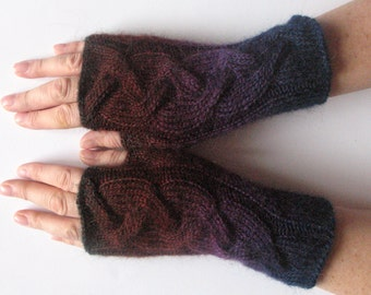 Fingerless Gloves Dark Blue Brown Purple Arm Warmers Knit Soft