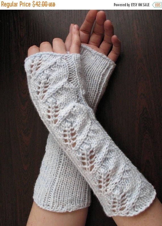 Long Fingerless Gloves Mittens white light azure Arm Warmers for Wedding and Soft Acrylic