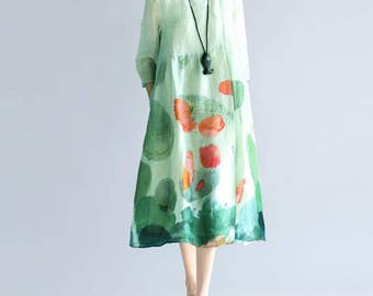 women printing Round collar double long dress green Maxi Dress