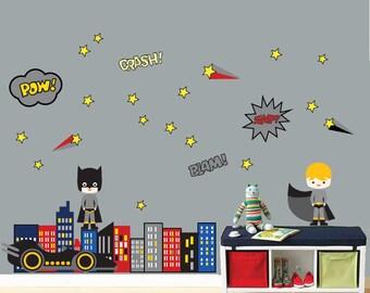 REUSABLE Superhero Wall Decal Childrens Fabric Wall Decal - Superhero wall decals