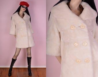 60s Ivory Faux Fur Coat/ Small/ 1960s/ Vintage/ Jacket