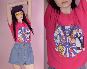90s Pink Looney Tunes Cropped Tshirt/ Medium/ 1990s/ Tee