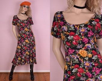 90s Floral Print Maxi Dress/ Small/ 1990s