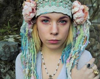 Romantic Flower Headdress with Pastel Tassels Shabby Chic Flower Headband Boho Tassel Headpiece Nymph Festival Headdress Pink Blue Green