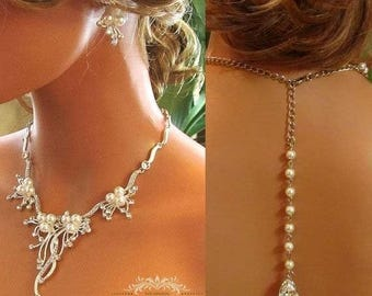Bridal jewelry set, bridal necklace, backdrop necklace, Wedding jewelry set, pearl necklace, bridal statement earrings, bridesmaid jewelry