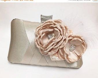 Wedding clutch, Bridal clutch, Champagne clutch, evening bag, Modern clutch, flower feather bridesmaid bag, crystal clutch, evening clutch