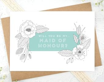 Maid of Honour Card - Matron of Honour Card - Will you my maid of honour? - Will you be my matron of honour? - Botantical Maid of honour