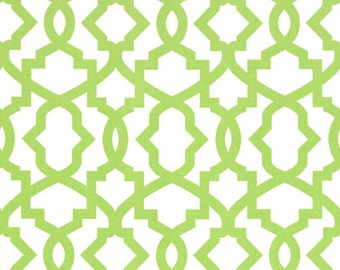 Kiwi Green White Sheffield Lattice Curtains, Rod Pocket, 63 72 84 90 96 108 or 120 Long x 24 or 50 Wide,