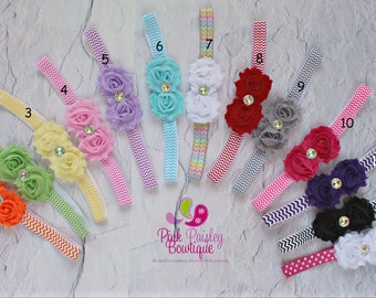 Baby Headband Set - You Pick 1 Mini Shabby Bows - Newborn Headbands- Baby Girl Headbands - Infant Headband -Baby Hair Accessories - Hairbows