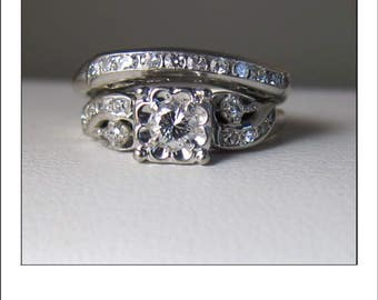 Antique 14k Tru-Fit .60 ct. Diamond Wedding Set - Engagement Ring with Wedding Band