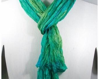 "Turquoise silk scarf. Shibori silk scarf. 18x68"" FLAT. Hand-painted silk scarves. Silk scarf handpaint. Painted silk scarves~#37"
