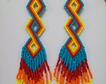 Digital Download Pattern For Native American Style Twisted Bead Earrings, Southwestern, Boho, Hippie, Gypsy, Brick Stitch,