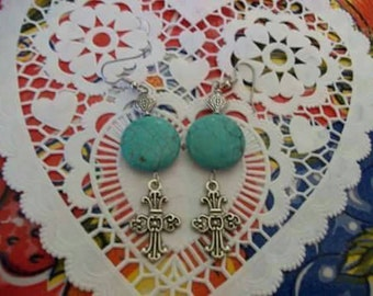 TURQUOISE CROSS Earrings by JennyClay