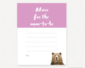 Advice Card for Baby Shower, Boy or Girl, Cute Bear Woodland theme