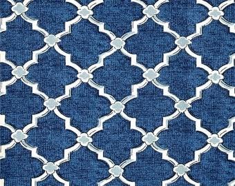 "Two 96"" x 50""  Custom Curtain Panels - Quatrefoil Trellis - Blue"