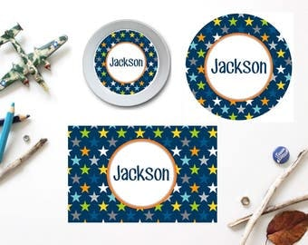 Stars Plate/Bowl/Placemat . Personalized Plate/Bowl/Placemat . Boys Melamine Plate . Preppy Plate/Bowl/Placemat