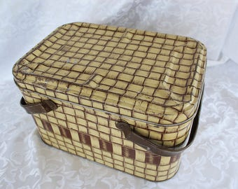 Vintage Metal Picnic Basket - Basket made from Metal - Mid Century Basket Box