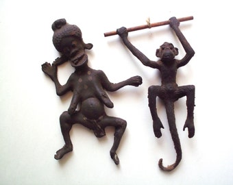 Pair of Unusual Vintage Rubber Figurines, a Woman and a Monkey, African/Aborigine