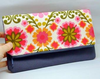 Foldover zipper clutch, zipper pouch, wedding purse, evening clutch, bridesmaid gifts set - Foral pattern (Ref. FZ19)